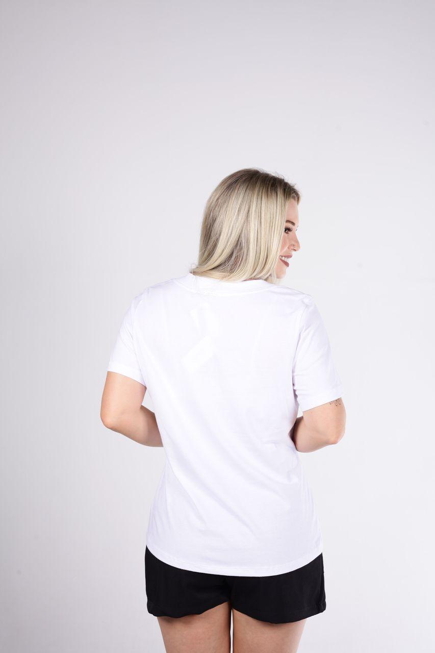 T-Shirt Tigrara Branca Estampada de Malha