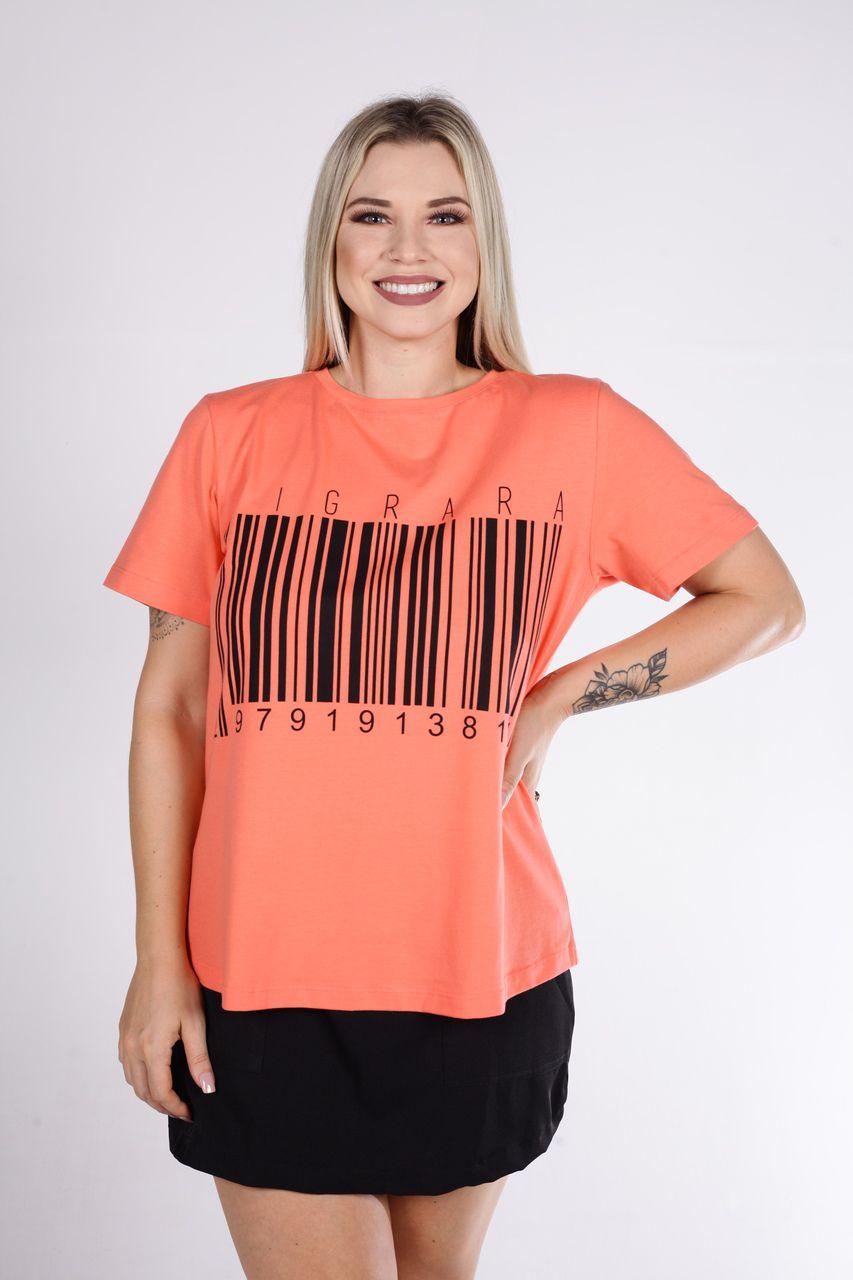 T-Shirt Tigrara Coral de Malha e Estampa Código De Barras