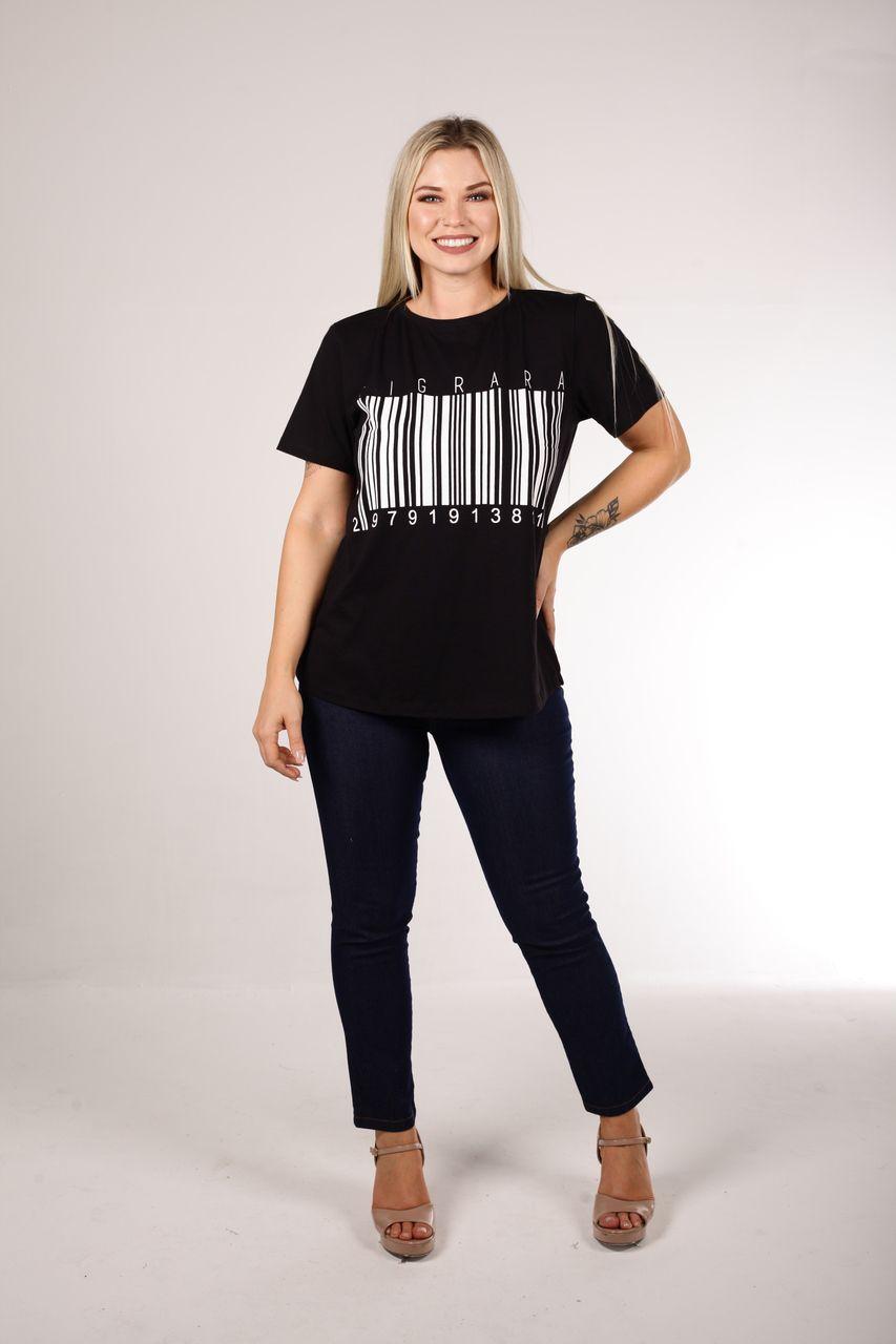 T-Shirt Tigrara Preta Estampa Código de Barras