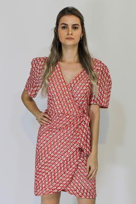 Vestido Curto Doce Trama em Tricoline Bordado Vermelho