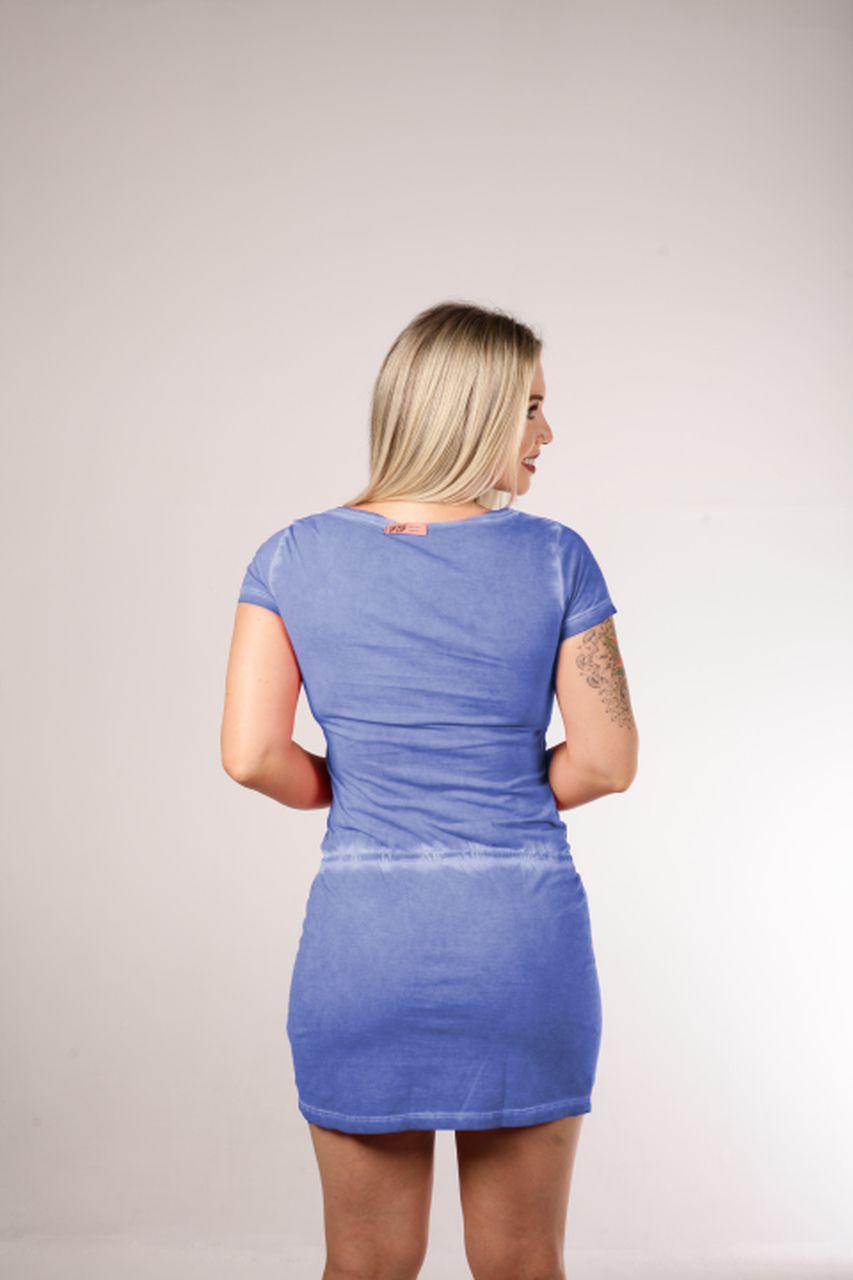 Vestido Estonado Up Zup Azul com Amarração Frontal