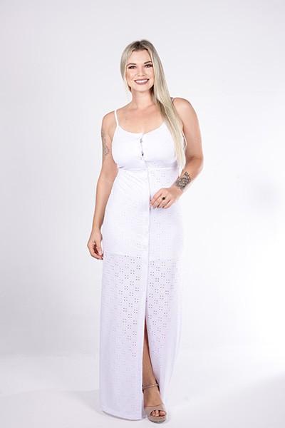 Vestido Longo Up Zup Branco com Botões Frontais