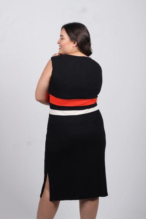 Vestido Preto/Vermelho Manhattan Composê Smel