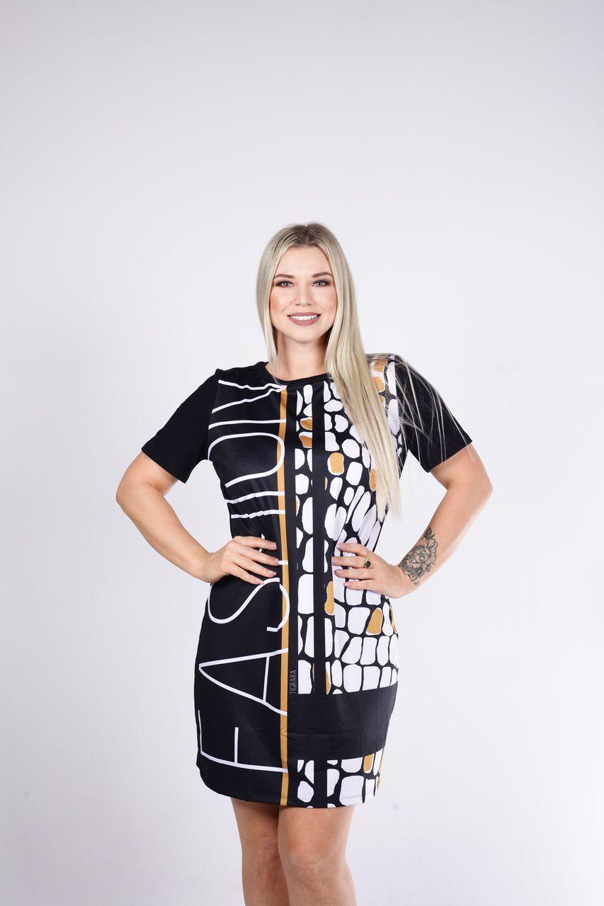 Vestido Tigrara Preto com Estampa Fashion