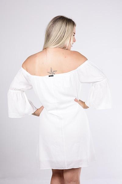 Vestido Tigrara Ombro A Ombro Off White com Elástico Nas Mangas