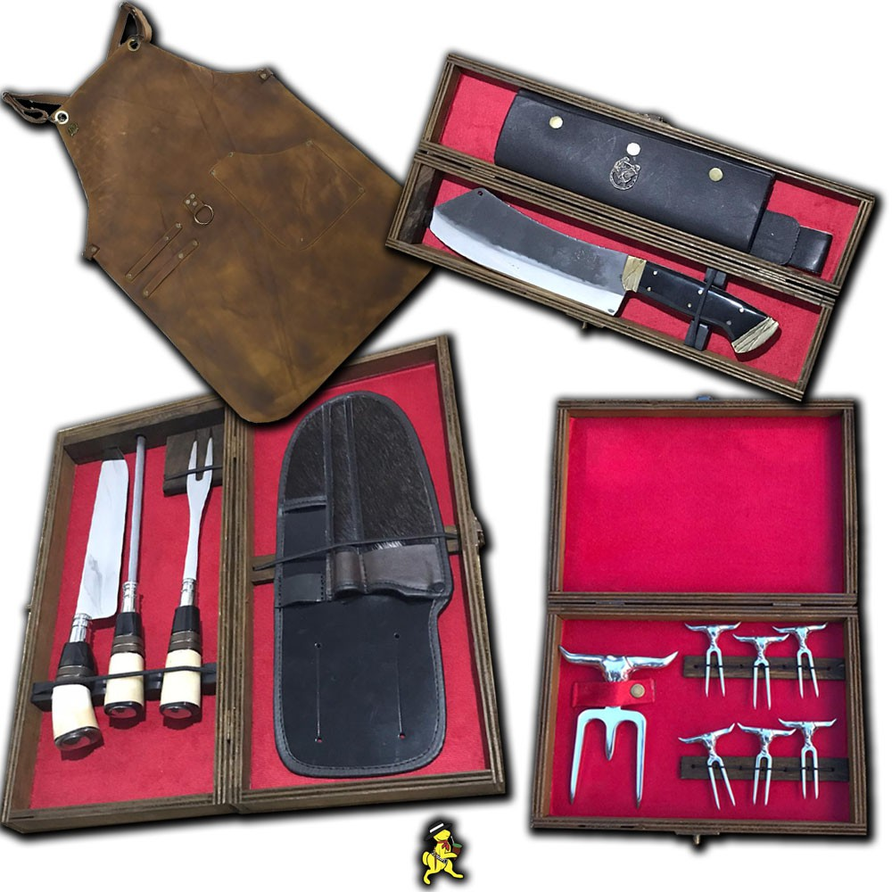 Conjunto Kit Trio 9 Pol Cutelo 4mm Kit Tridente Avental Couro