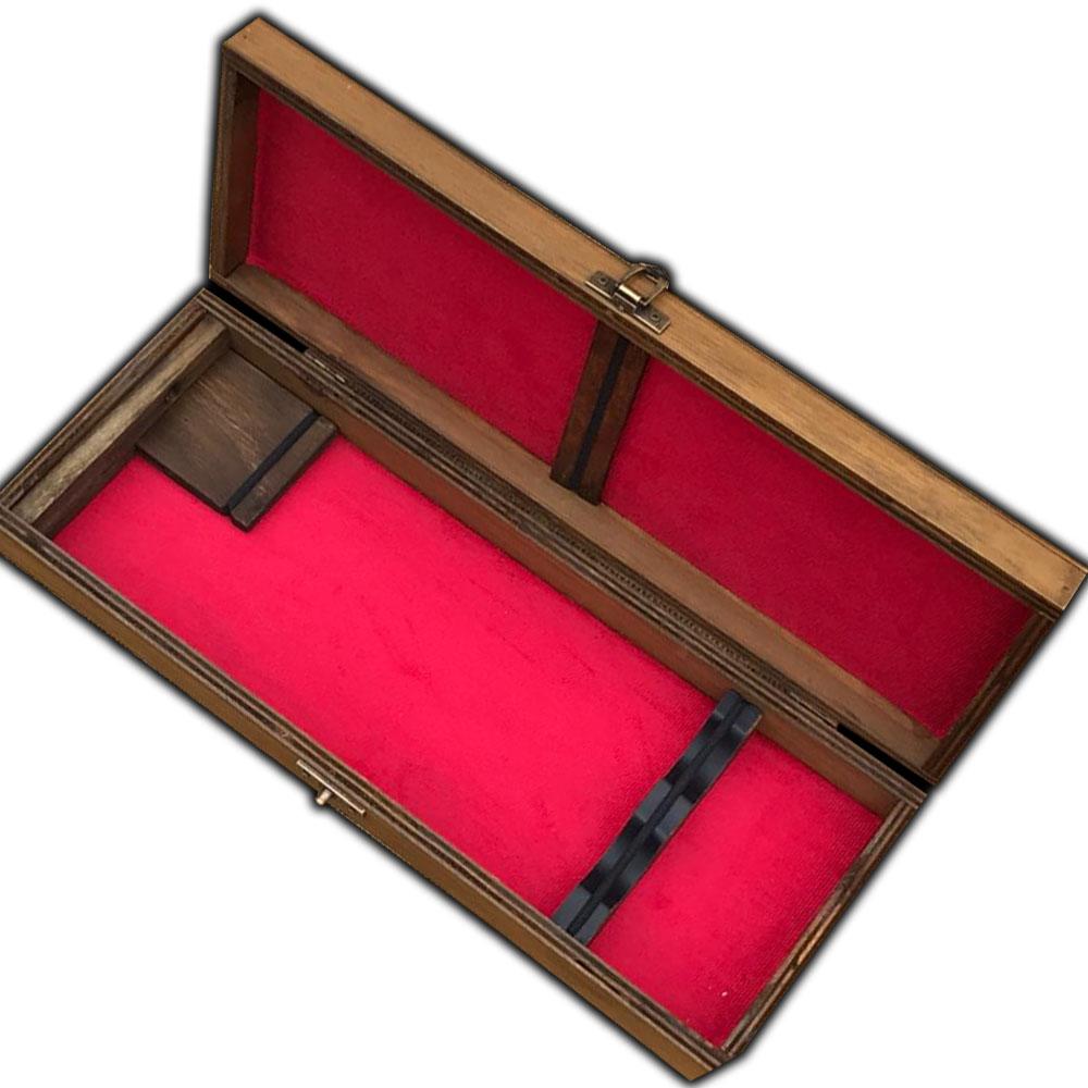 Estojo de Madeira Luxo Porta Faca e Chaira Veludo Tam 10 Pol