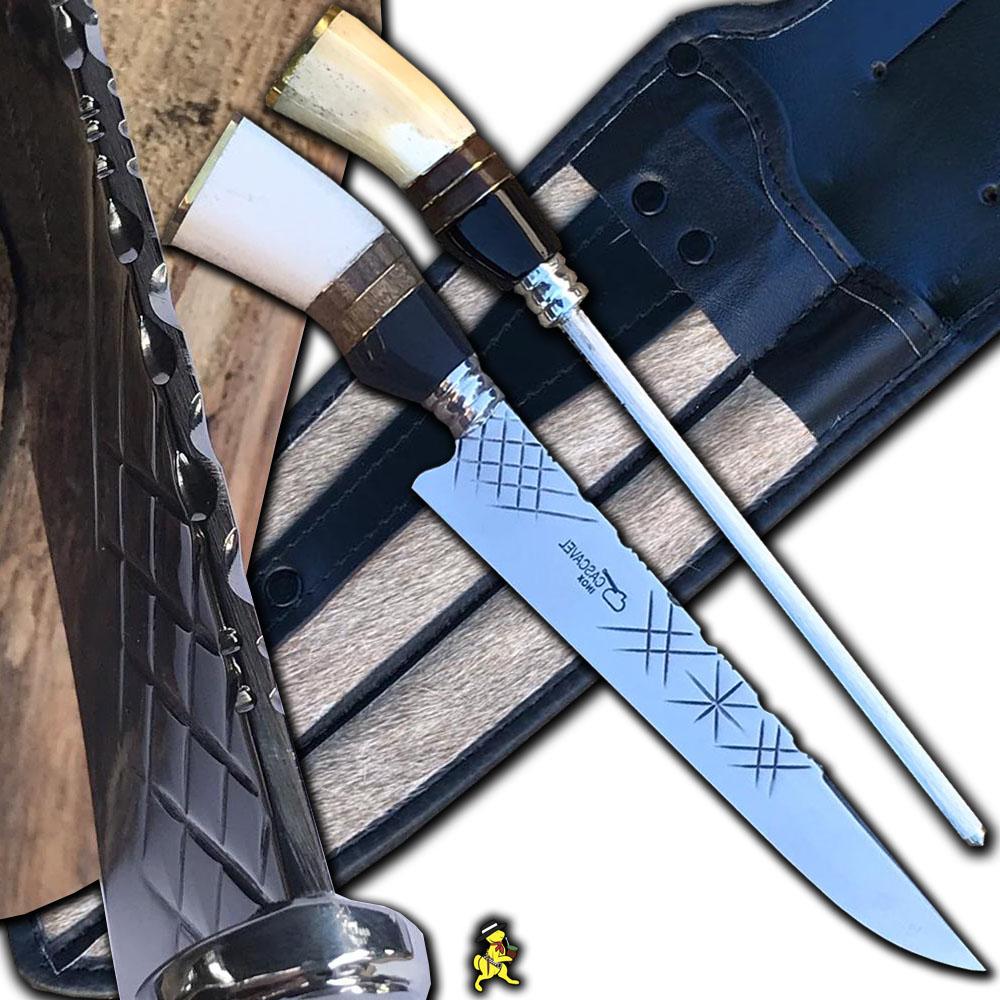 Kit Artesanal Churrasco Conjunto Faca 4mm e Chaira 10 Pol