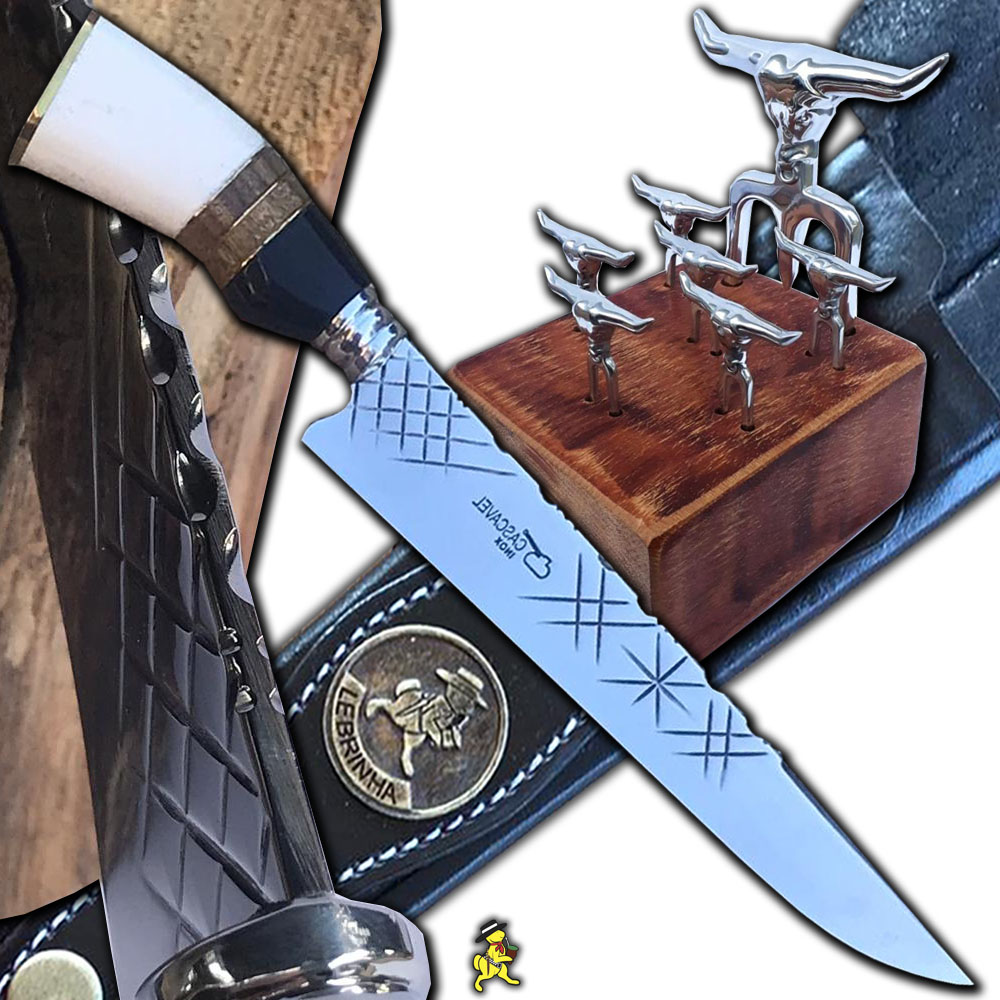 Kit Churrasco Faca 10 Pol Inox 4mm Tridente Petisco Suporte