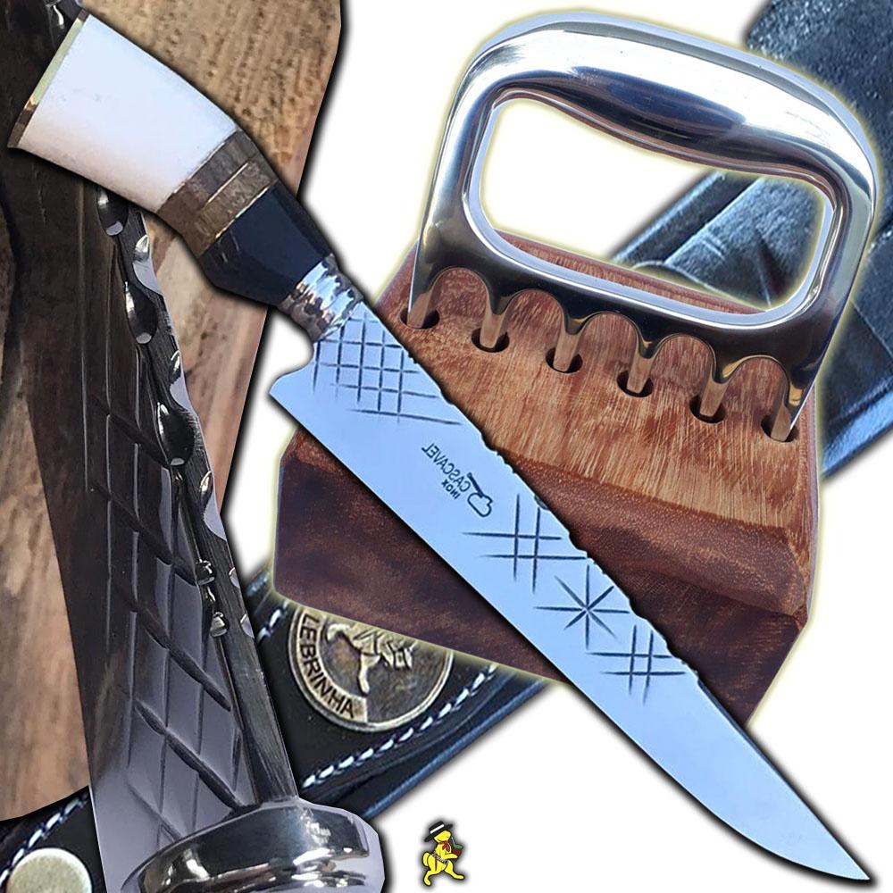 Kit Churrasco Faca 10 Pol Trad Grossa 4mm Garra Urso Suporte