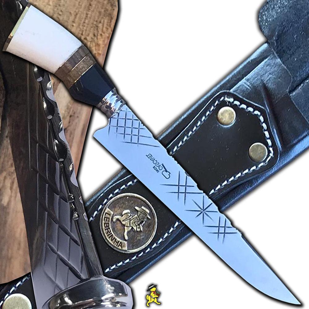 Kit Churrasco Faca 10 Pol Trad. Grossa 4mm Tridente Suporte