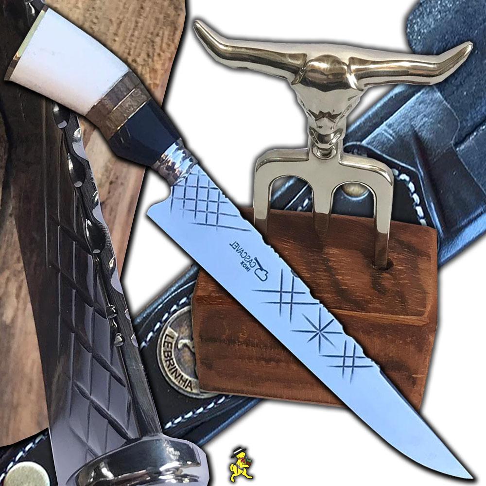 Kit Churrasco Faca 12 Pol Trad. Grossa 4mm Tridente Suporte