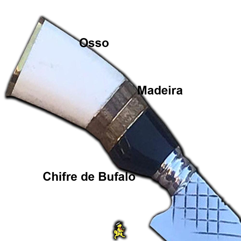 Kit Churrasco Faca 4mm 12 Pol Estojo Tridente Petisco Cepo