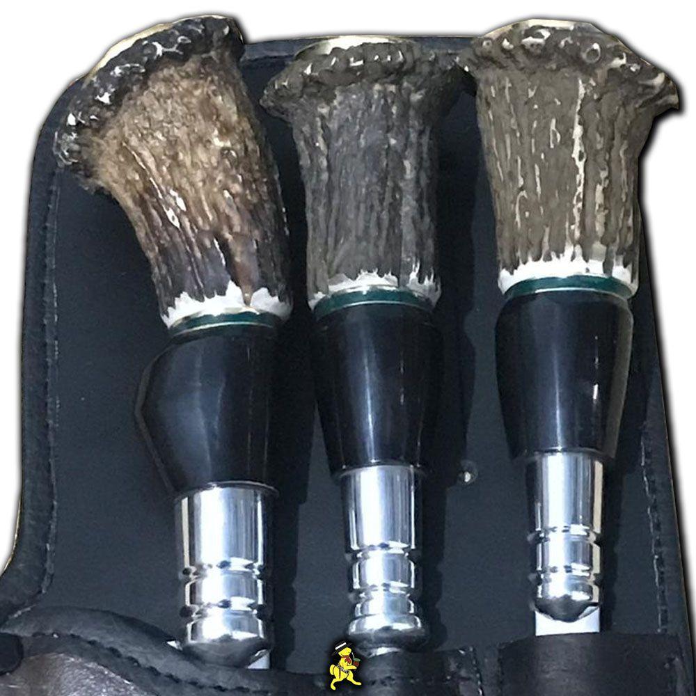 Tri Conjunto Churrasqueiro Inox  Cabo Cervo e Chifre De Bufalo 9 Pol