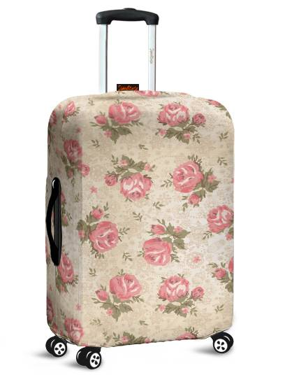 Capa para Mala Floral Rosas e Bege