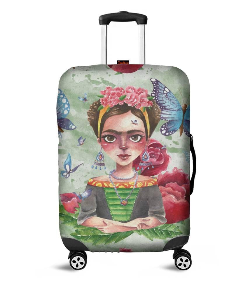 Capa para Mala Frida Flores e Borboletas - Pronta Entrega