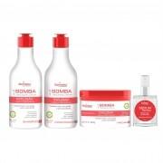 Shampoo Anti Queda e Acelerador de Crescimento Capilar 320ml, Condicionador 320ml, Máscara Nutritiva 300g e Serum 35ml - Kit Bomba (4 passos)