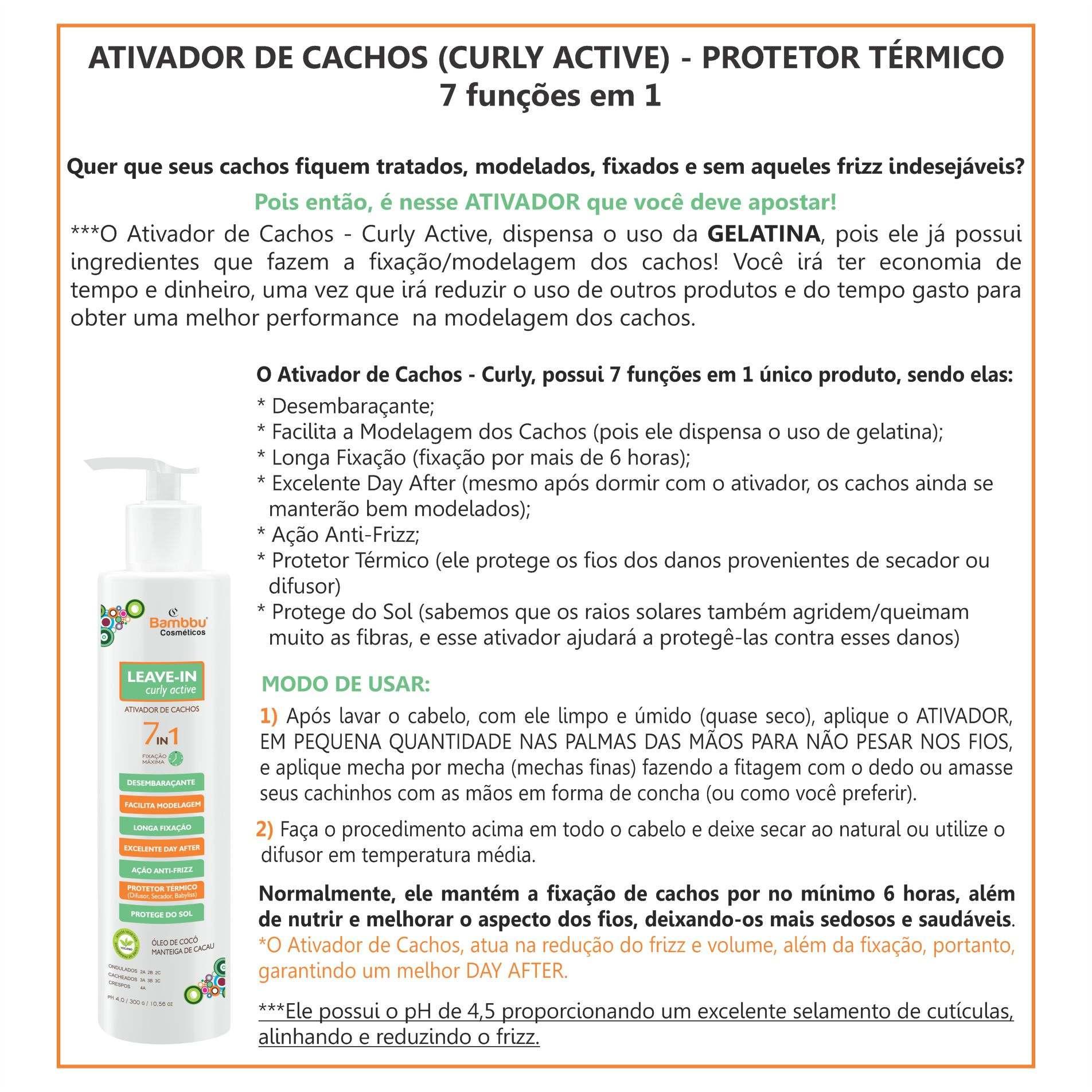 Ativador de Cachos e Protetor Termico de Alta Fixação 300g - 7 funções em 1