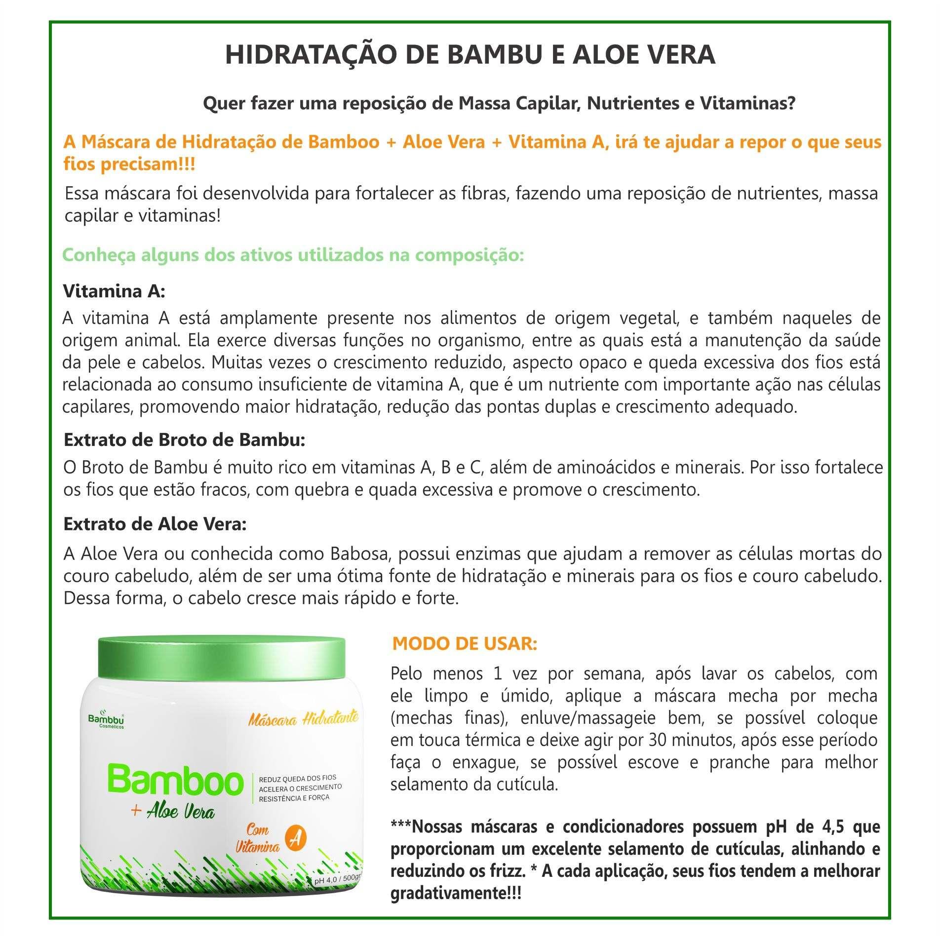 Hidratação de Bamboo, Aloe Vera e Vitamina A - 500g
