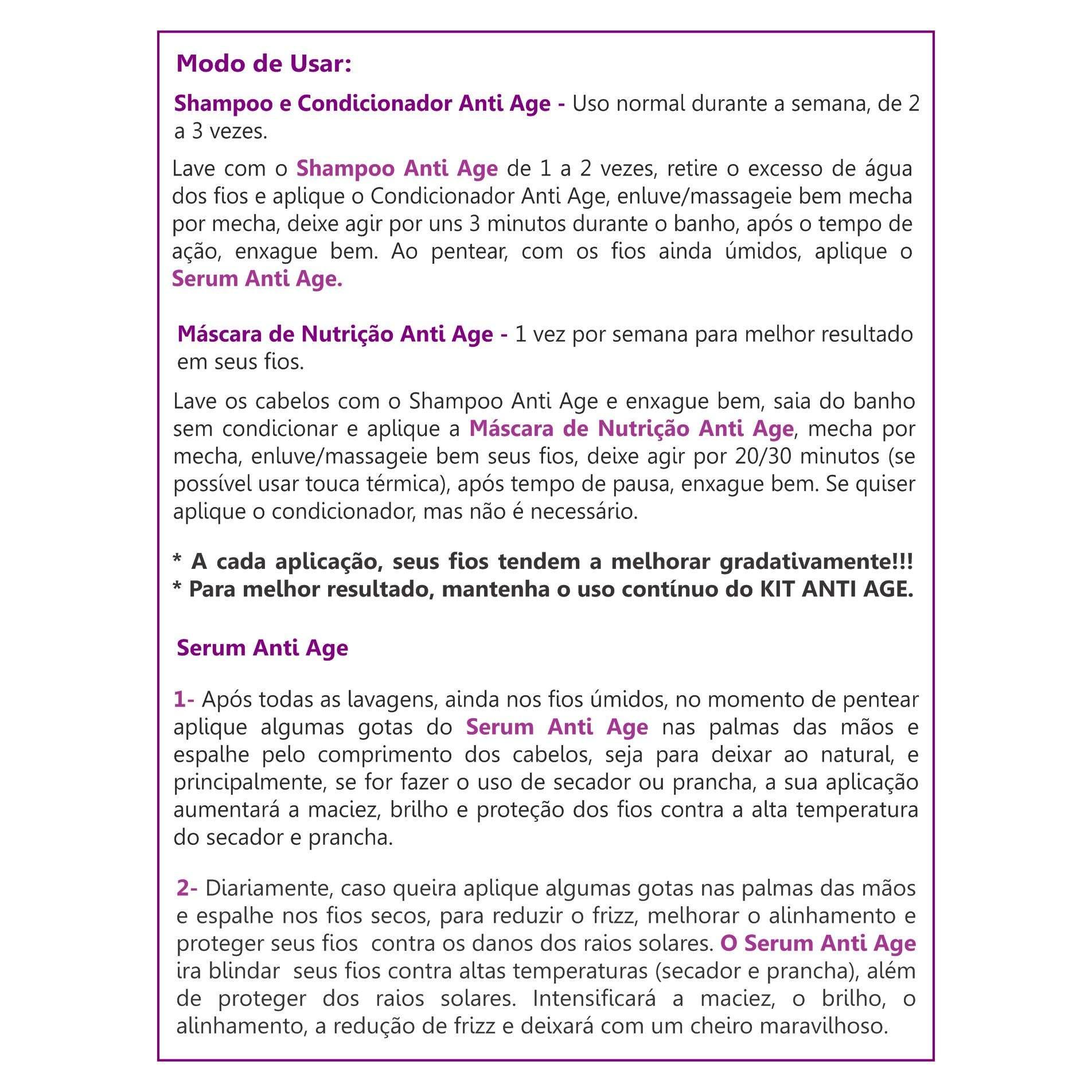 Shampoo, Condicionador e Máscara Anti Age (Kit Anti Age - Doador de Volume - Fios Finos, Frágeis e Sem Volume)