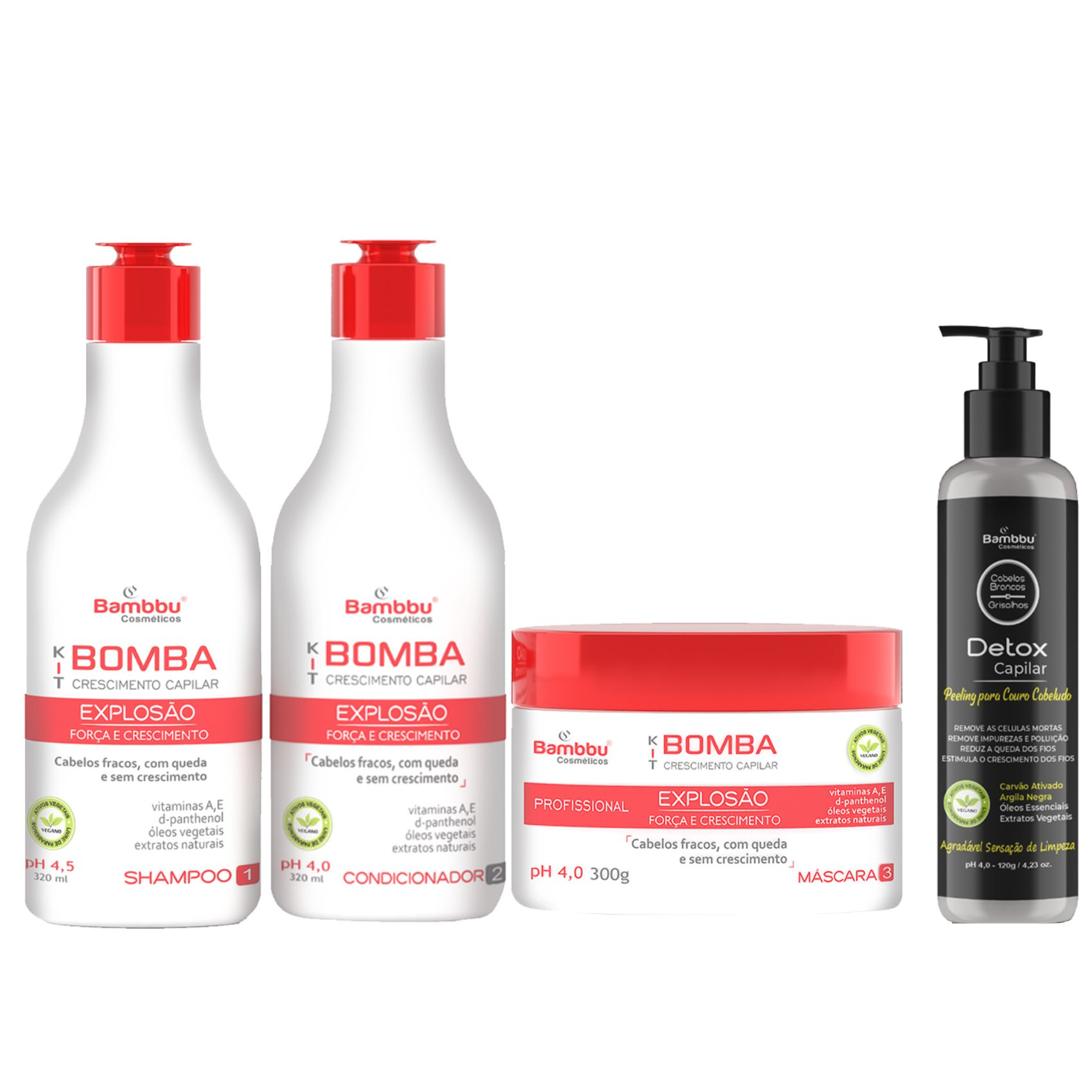 Kit Bomba Crescimento e Detox Capilar Couro Cabeludo (Kit Bomba 3 passos)