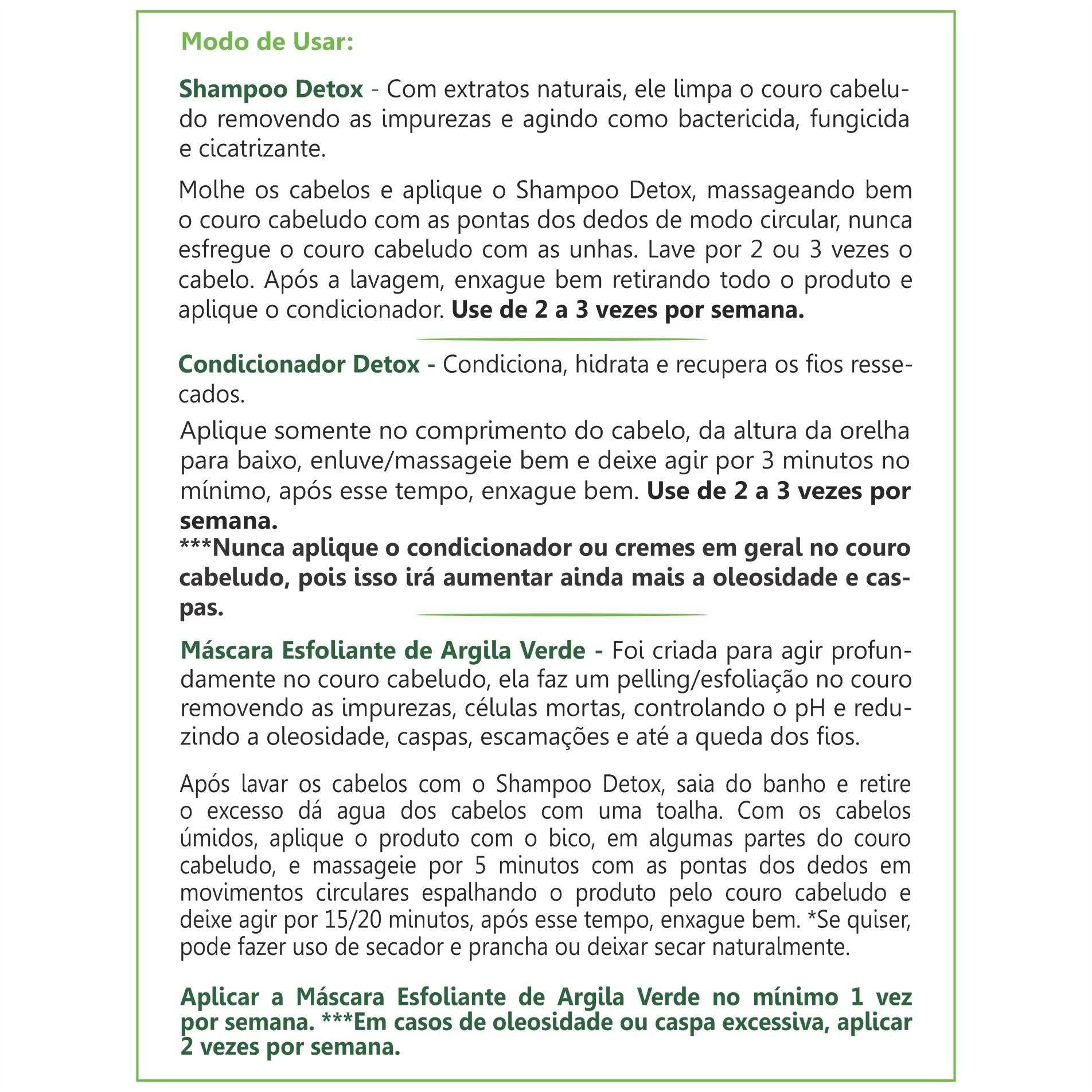 Kit Detox para Couro Cabeludo Oleoso, com Caspas e Escamações