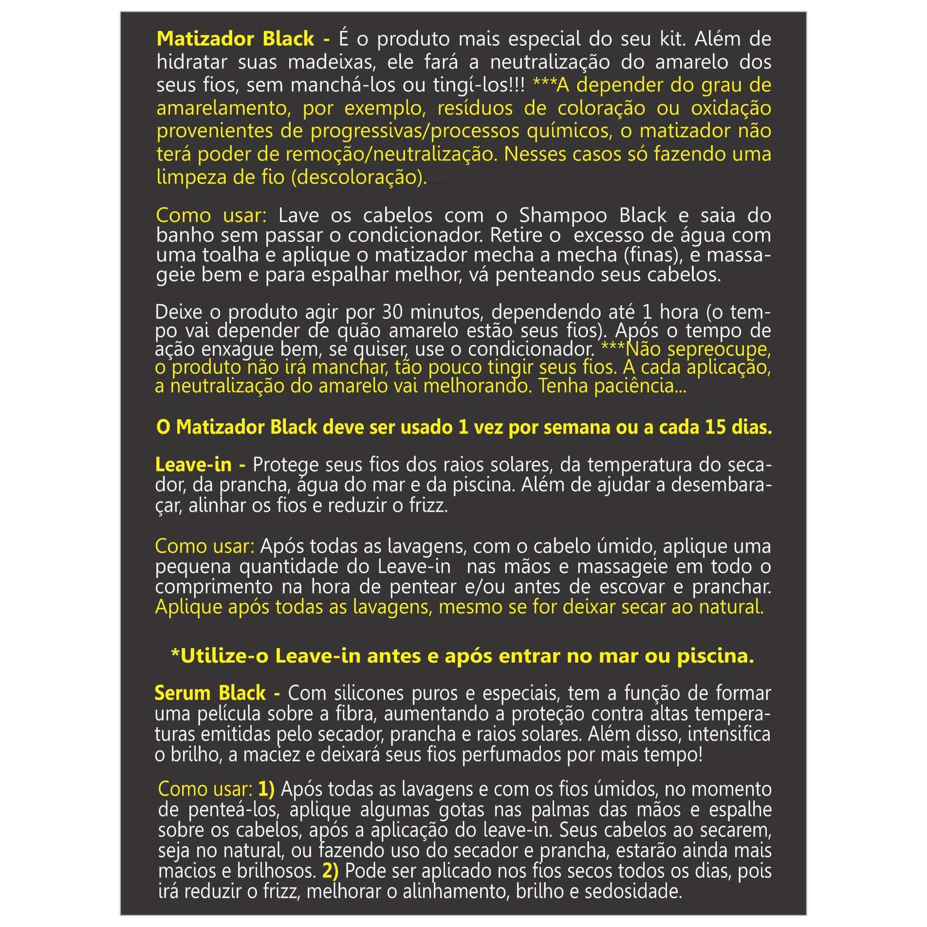 Leave-in/Protetor Termico Desamarelador Black 250g - Cabelos Brancos e Grisalhos
