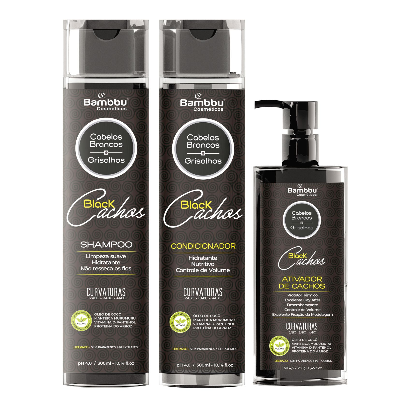Linha Cachos - Black Desamarelador - Shampoo, Condicionador e Ativador de Cachos (3 passos) para Cabelos Crespos e Cacheados Grisalhos