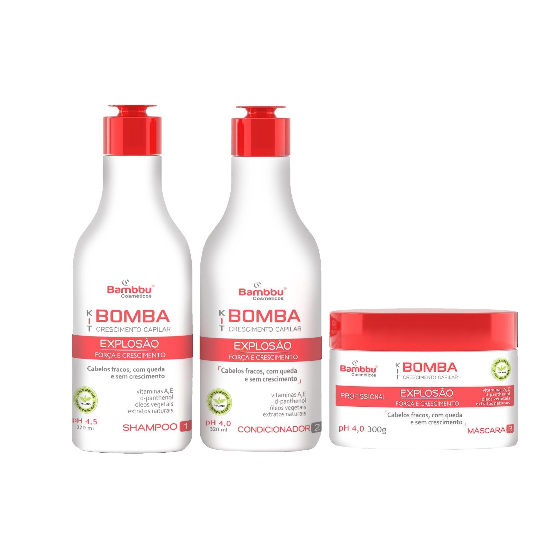 Shampoo Acelerador de Crescimento Capilar e Anti Queda 320ml, Condicionador 320ml e Máscara Nutritiva 300g  - Kit Bomba (3 passos)