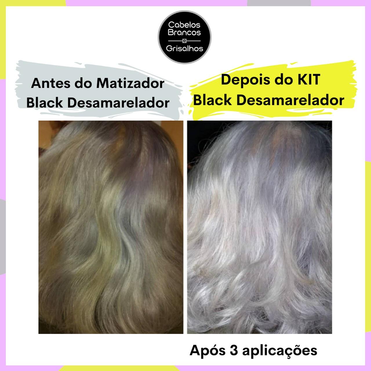Shampoo Cabelos Grisalhos, Condicionador e Matizador Desamarelador para Cabelos Brancos e Grisalhos - (Kit Black Desamarelador 3 passos)