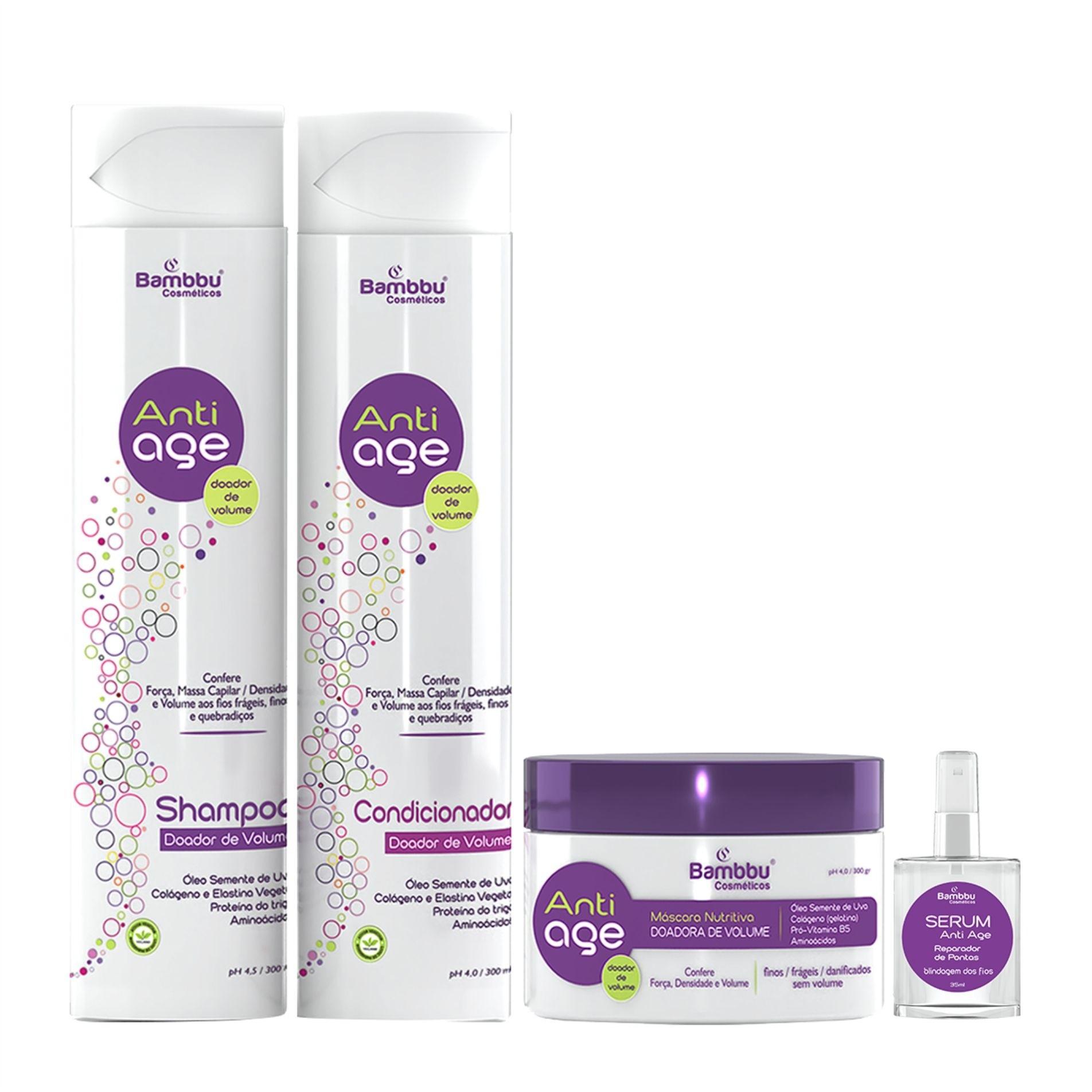 Shampoo, Condicionador, Máscara de Nutrição e Serum Anti Age - Doador de Volume - Fios Finos, Frágeis e Sem Volume (KIT 4 passos)
