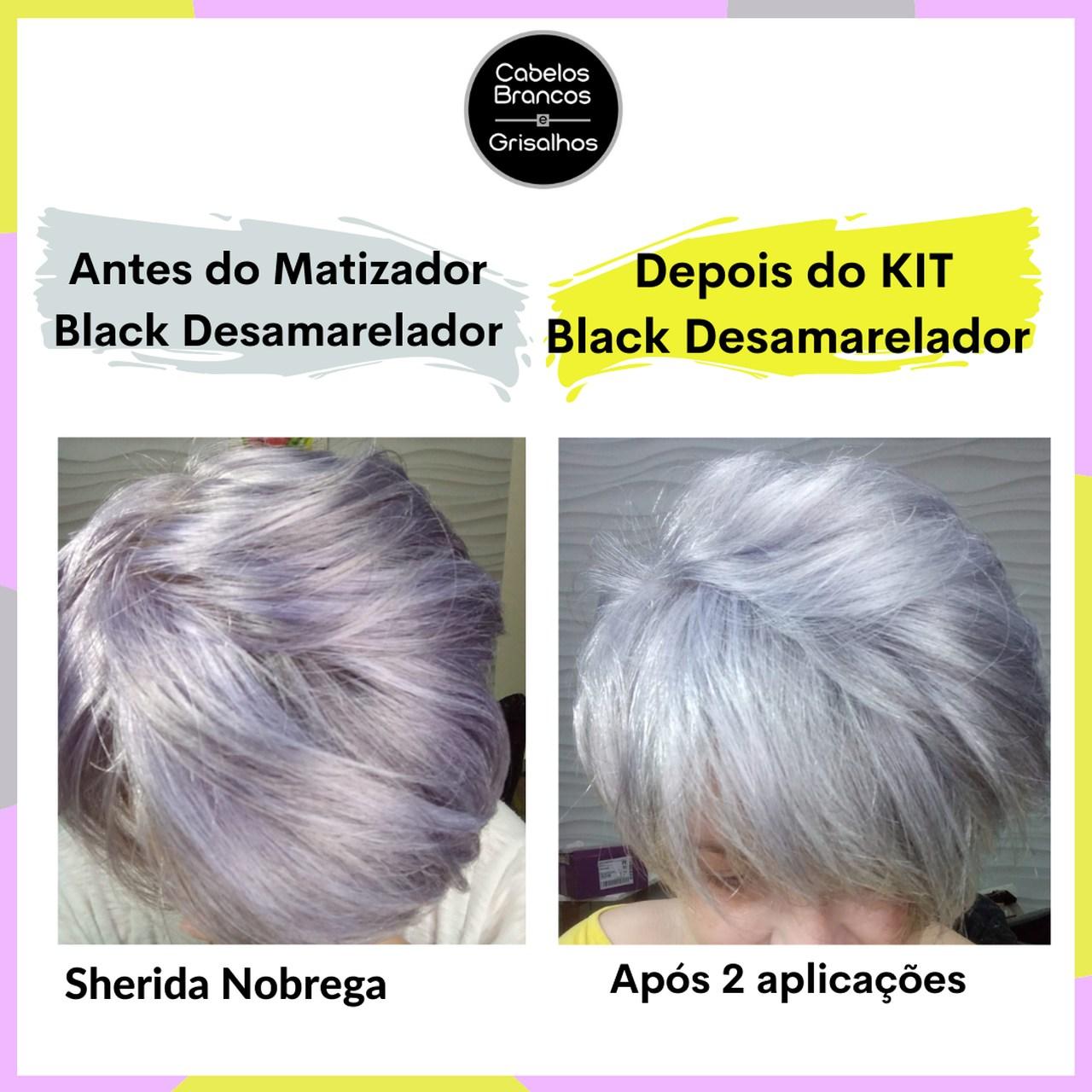 Shampoo, Condicionador, Matizador, Leave-in e Serum Desamarelador para Cabelos Brancos e Grisalhos - (Kit Black Desamarelador 5 passos)