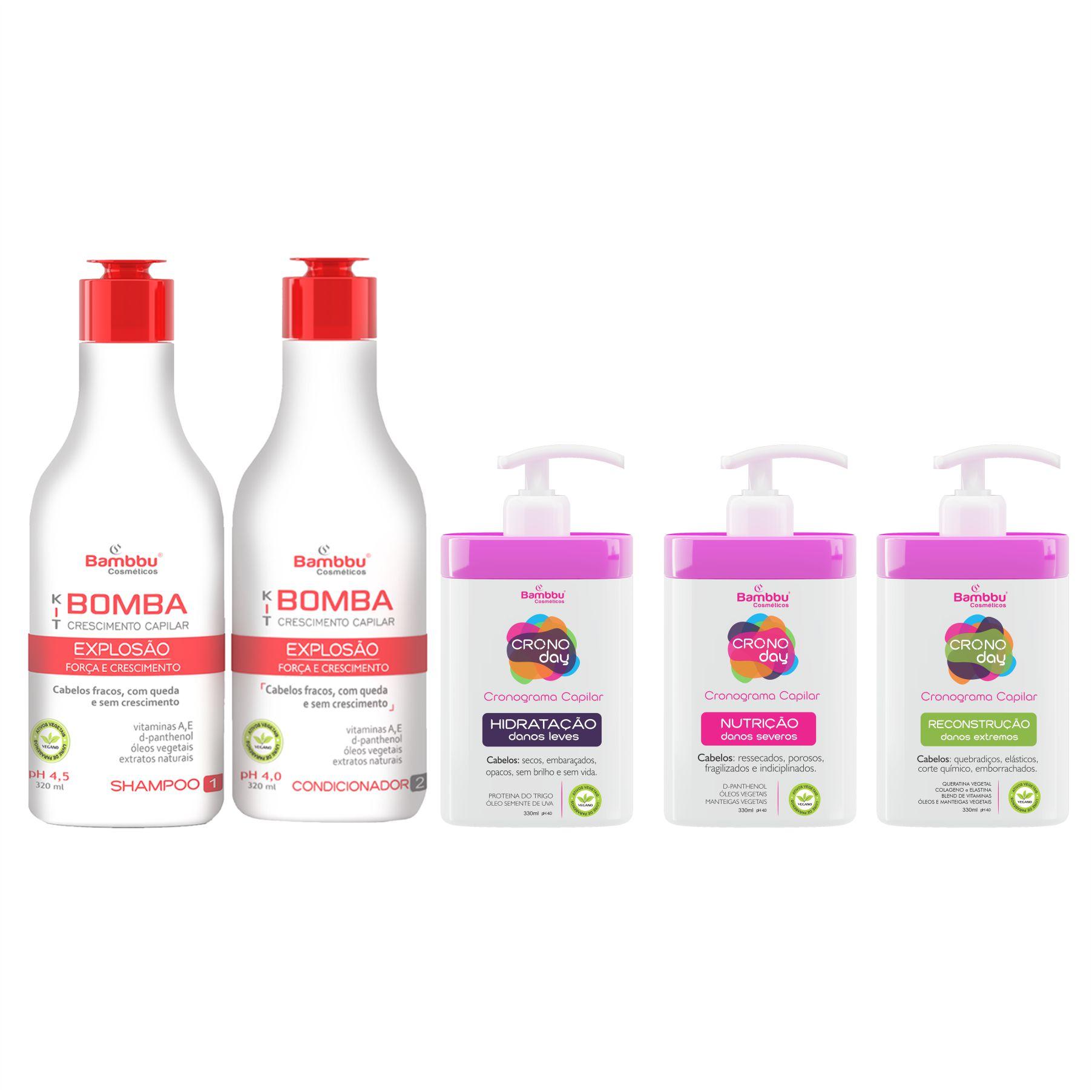Shampoo e Condicionador Bomba (2 passos) e Cronograma Capilar (3 passos)