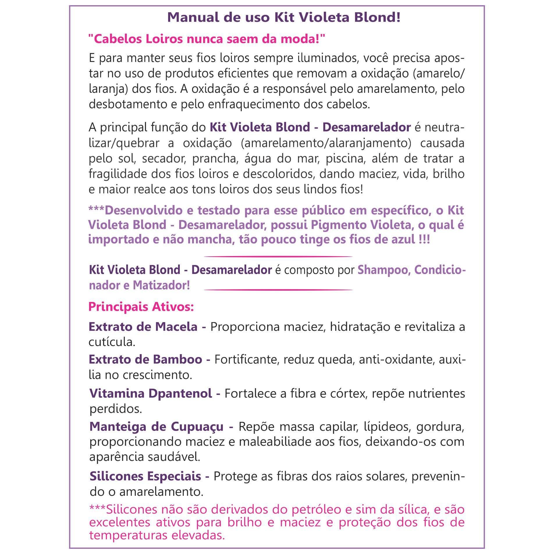 SHAMPOO E CONDICIONADOR VIOLETA DESAMARELADOR - LOIROS, DESCOLORIDOS E COM LUZES