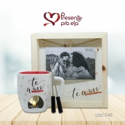 Kit Amor Infinito Caneca Fondue e Porta Retrato Varal