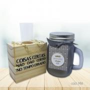 Kit Decorativo de Mesa com Pulseira Folheada e Vela Perfumada