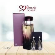 Kit Perfume Essencial Exclusivo e Brincos Franja em Ouro Branco