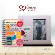 Kit Porta Retrato Smile Rosa Charme e Diário com Chaves Amiga Tag