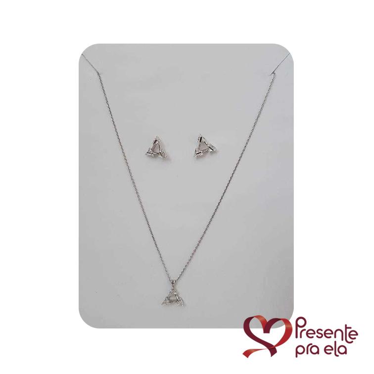 Conjunto Triângulo Semi Jóia em Prata com Zircônias