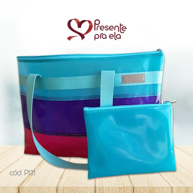 Kit Bolsa de Praia Listrada com Necessaire Azul