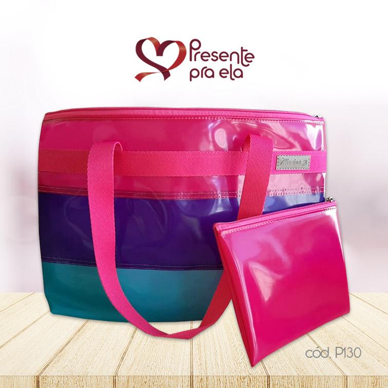 Kit Bolsa de Praia Listrada com Necessaire Pink