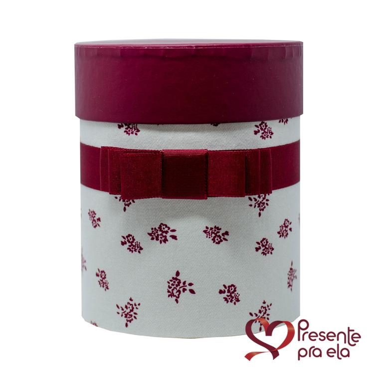 Kit Caixa Cachepô Decorativa Floral e Vela Perfumada