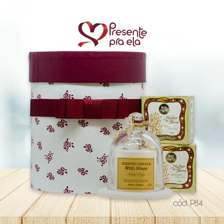 Kit Caixa Cachepô Decorativa Florida com Vela Perfumada e Sabonetes em Barra Mulher da Terra