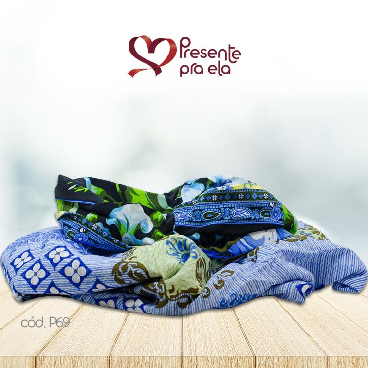 Kit Canga Artesanal Azul Claro Estampada com Faixa de Cabelo