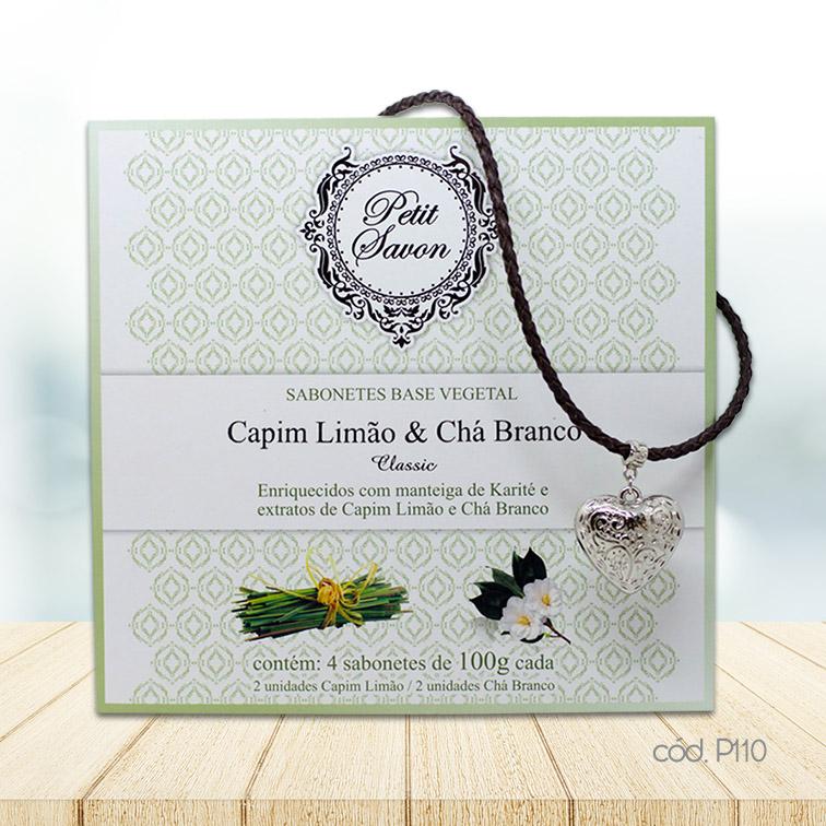Kit Colar Cordão com Coração em Prata e Sabonetes em Barra Capim Limão e Chá Branco