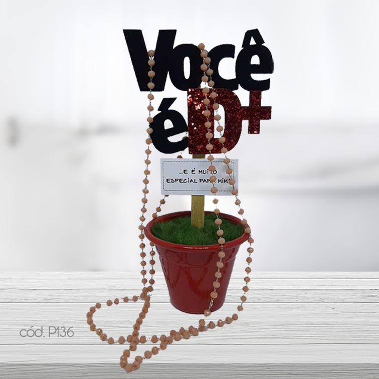 Kit Mini Vaso Decorativo e Colar Artesanal Cristais Candy
