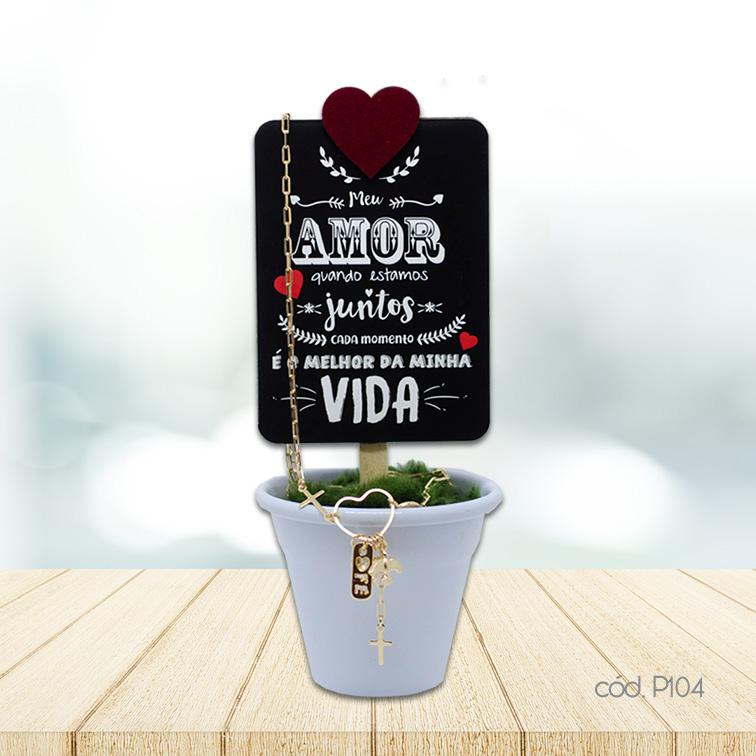 Kit Mini Vaso Decorativo e Colar Semi Jóia Coração