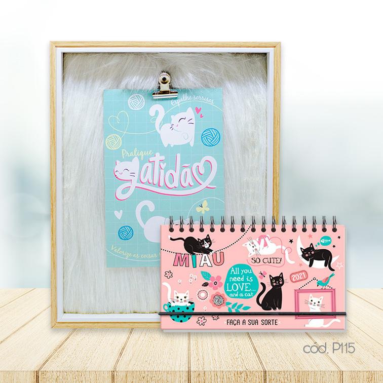 Kit Porta Retrato Plush e Agenda Mini Gatos