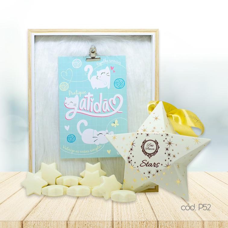 Kit Porta Retrato Plush e Mini Sabonetes Estrela Chá Branco