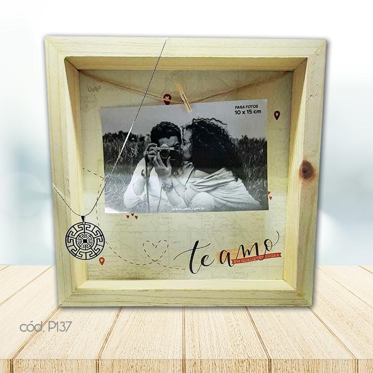 Kit Porta Retrato Varal Amor Infinito e Colar em Ródio Mandala
